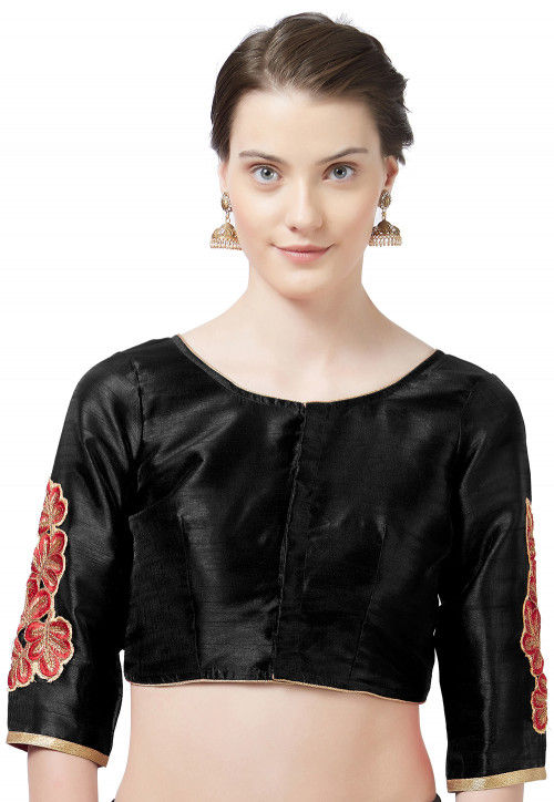 Embroidered Art Silk Blouse in Black