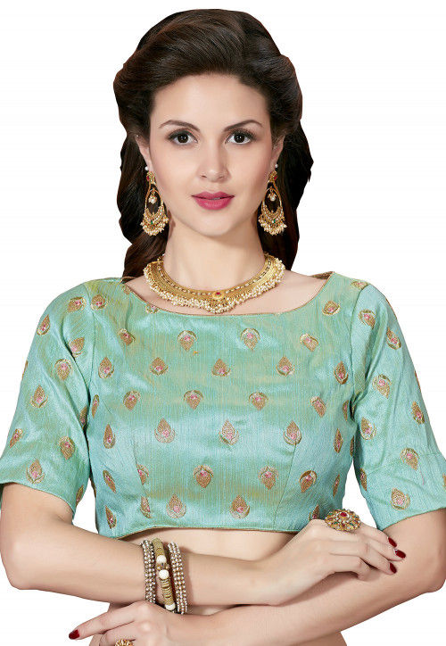 Embroidered Art Silk Blouse in Sea Green
