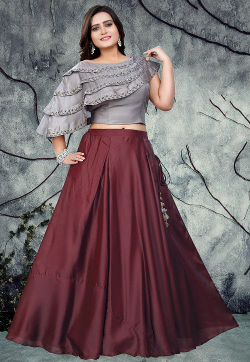 Embroidered Art Silk Crop Top With Skirt In Grey And Maroon Tgv18 Kind of like those crop top and skirt sets and matching pants pairs you just swiped past. embroidered art silk crop top with skirt in grey and maroon