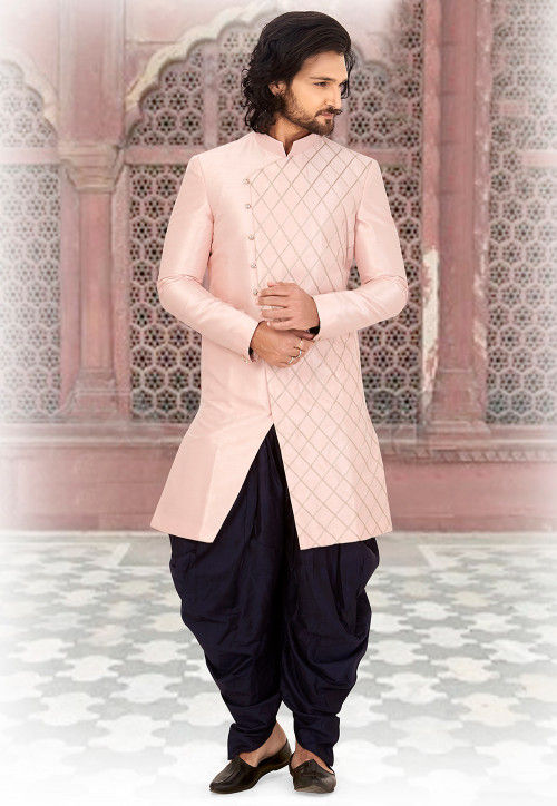 1f355f002f9f3b Embroidered Art Silk Dhoti Sherwani in Light Pink and Navy Blue ...