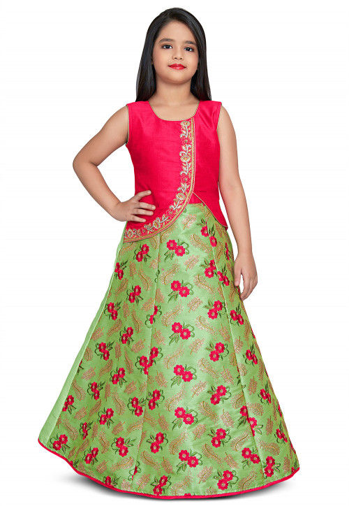 Embroidered Art Silk Gown in Light Green and Fuchsia