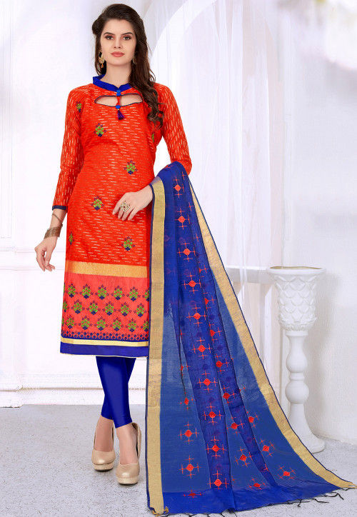 Embroidered Art Silk Jacquard Straight Suit in Orange