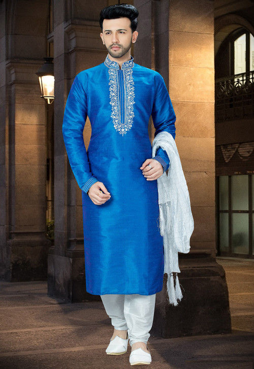 Embroidered Art Silk Kurta Pajama in Blue