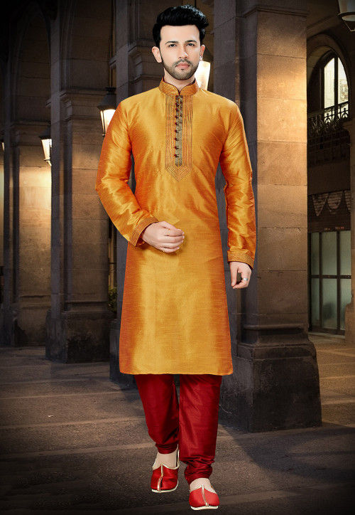 Embroidered Art Silk Kurta Pajama in Mustard