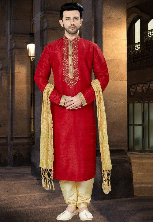 Embroidered Art Silk Kurta Pajama in Red