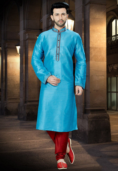 Embroidered Art Silk Kurta Pajama in Sky Blue