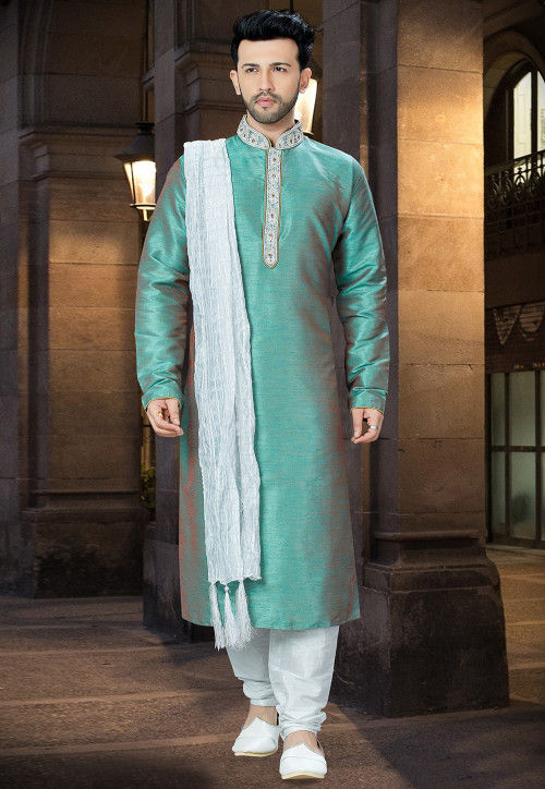 Embroidered Art Silk Kurta Pajama in Teal Green