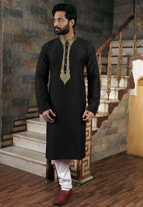Embroidered Art Silk Kurta Pajama Set in Black