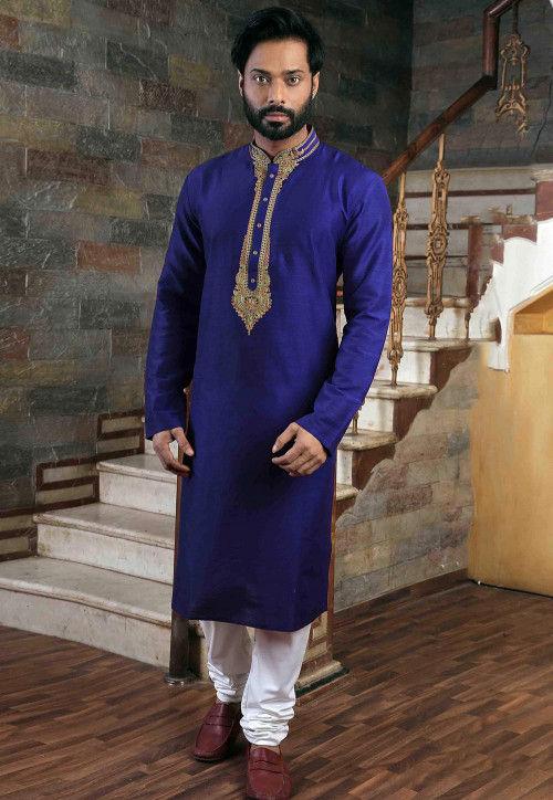 Embroidered Art Silk Kurta Pajama Set in Royal Blue