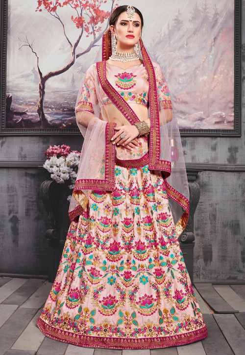 Embroidered Art Silk Lehenga in Peach