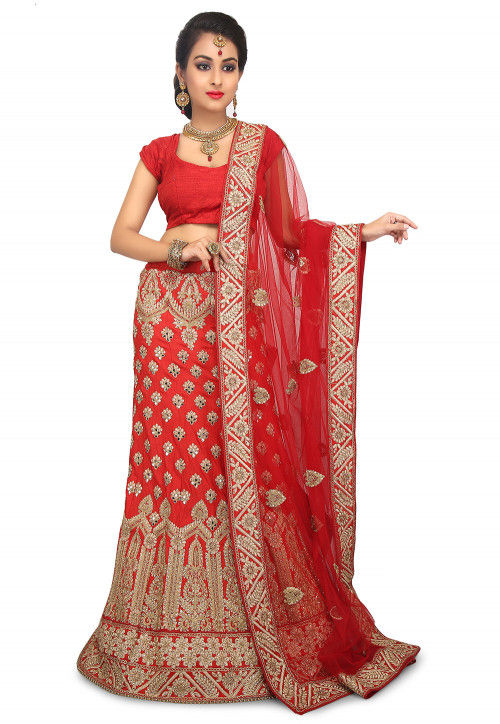 Embroidered Art Silk Lehenga in Red