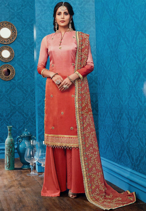 Embroidered Art Silk Pakistani Suit in Shaded Peach