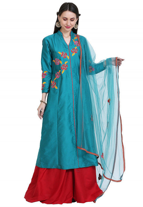 Embroidered Art Silk Pakistani Suit in Teal Blue