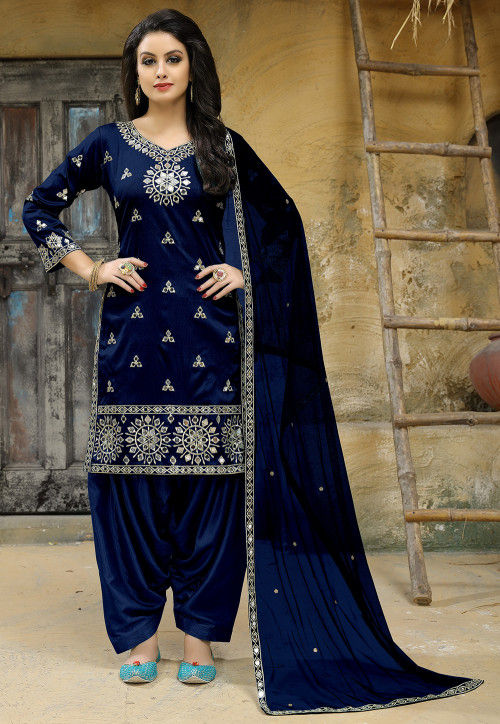 Embroidered Art Silk Punjabi Suit in Dark Blue