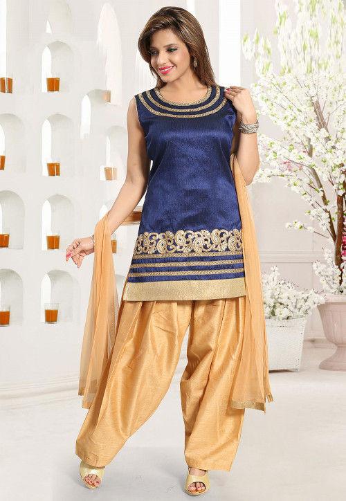 Embroidered Art Silk Punjabi Suit in Navy Blue