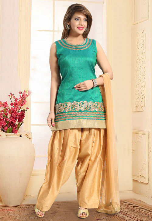 Embroidered Art Silk Punjabi Suit in Teal Green