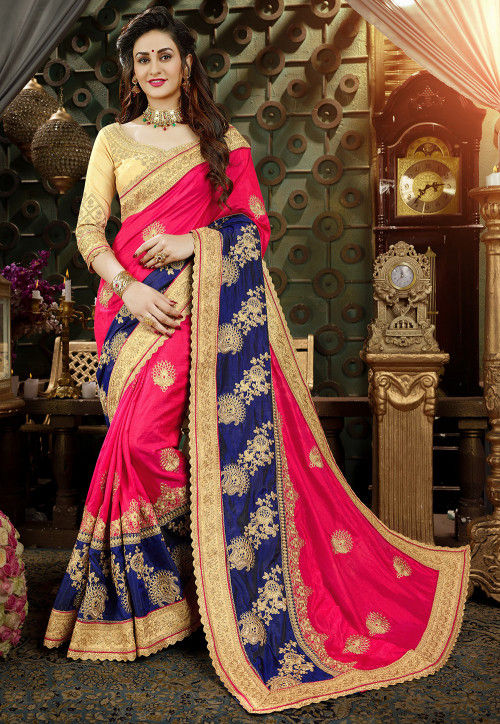 Embroidered Art Silk Saree in Fuchsia and Navy Blue