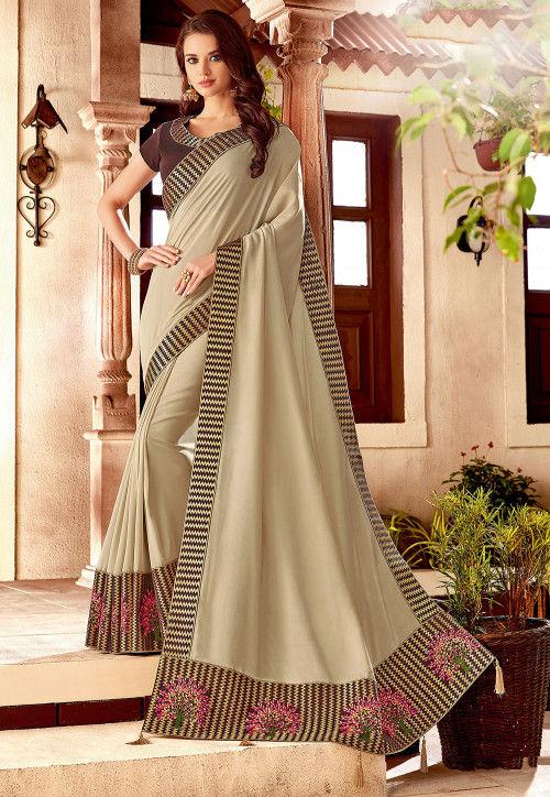 Embroidered Art Silk Saree in Light Beige