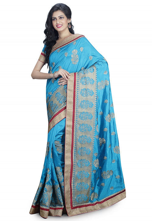 Embroidered Art Silk Saree in Light Blue