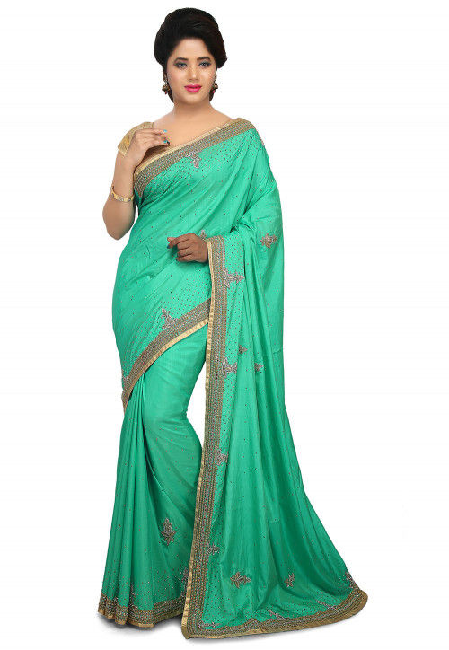Embroidered Art Silk Saree in Light Teal Green