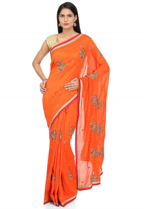 Embroidered Art Silk Saree in Orange