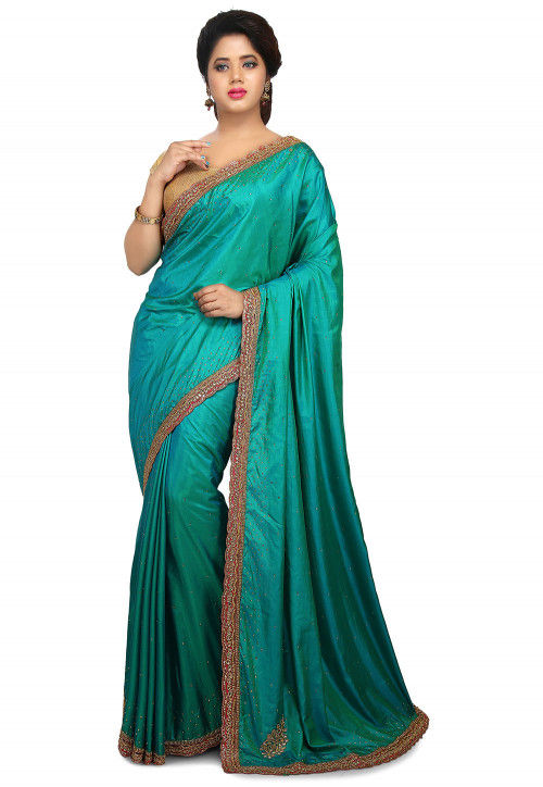 Embroidered Art Silk Saree in Teal Blue and Green Dual Tone