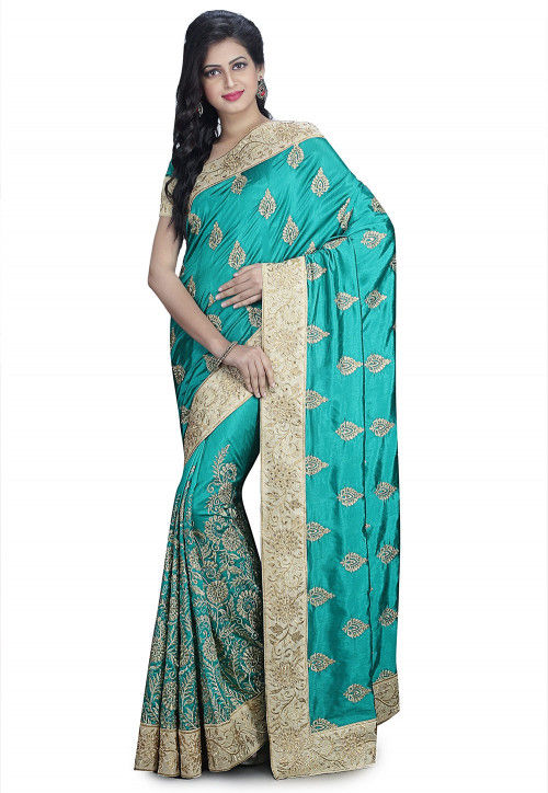 Embroidered Art Silk Saree in Turquoise