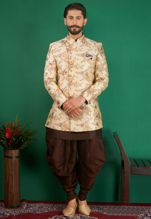 Embroidered Art Silk Sherwani in Light Beige and Brown