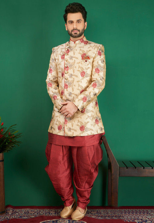 Embroidered Art Silk Sherwani in Light Beige and Red