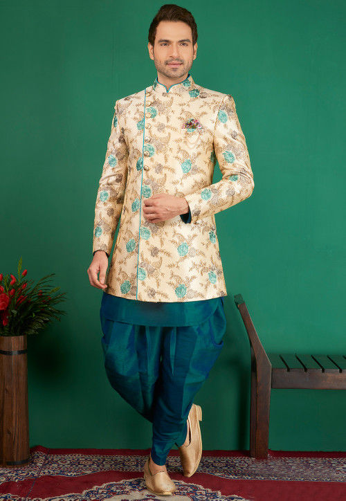 Embroidered Art Silk Sherwani in Light Beige and Teal Blue