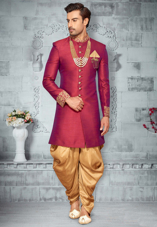 Embroidered Art Silk Sherwani in Magenta