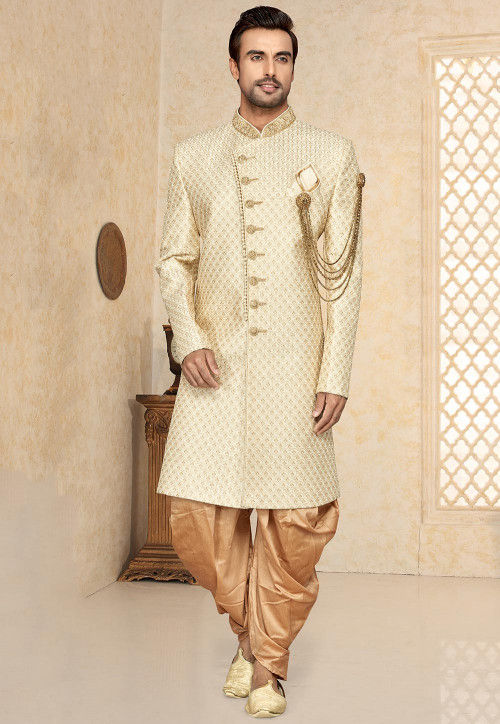 Embroidered Art Silk Sherwani in Off White