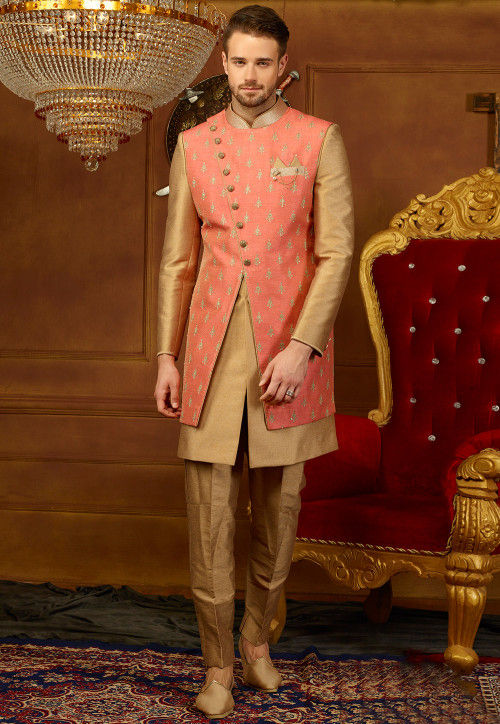 Embroidered Art Silk Sherwani Jacket Set in Beige and Pink