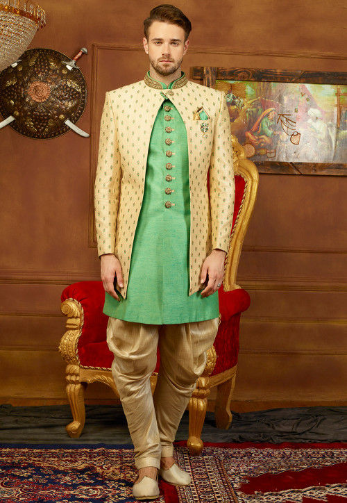 Embroidered Art Silk Sherwani Jacket Set in Light Green and Off White
