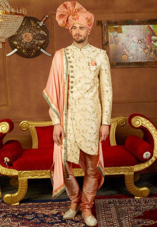 Embroidered Art Silk Sherwani Set in Cream