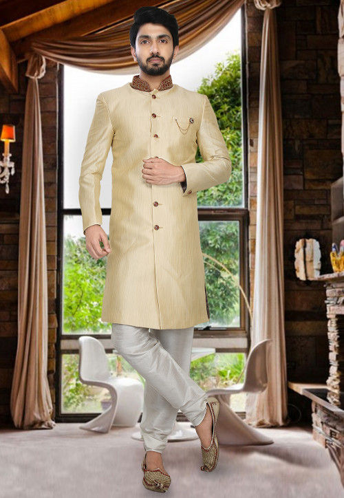 Embroidered Art Silk Sherwani Set in Light Beige