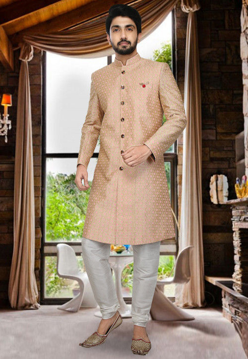 Embroidered Art Silk Sherwani Set in Pink and Golden