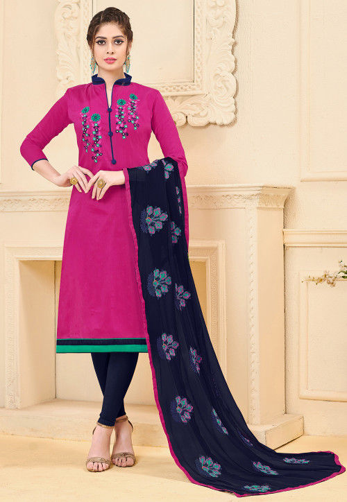 Embroidered Art Silk Straight Suit in Pink