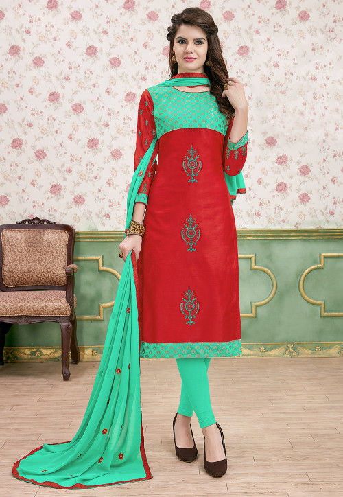 Embroidered Art Silk Straight Suit in Red and Sea Green