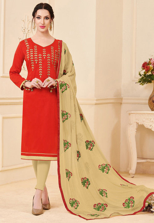 Embroidered Art Silk Straight Suit in Red