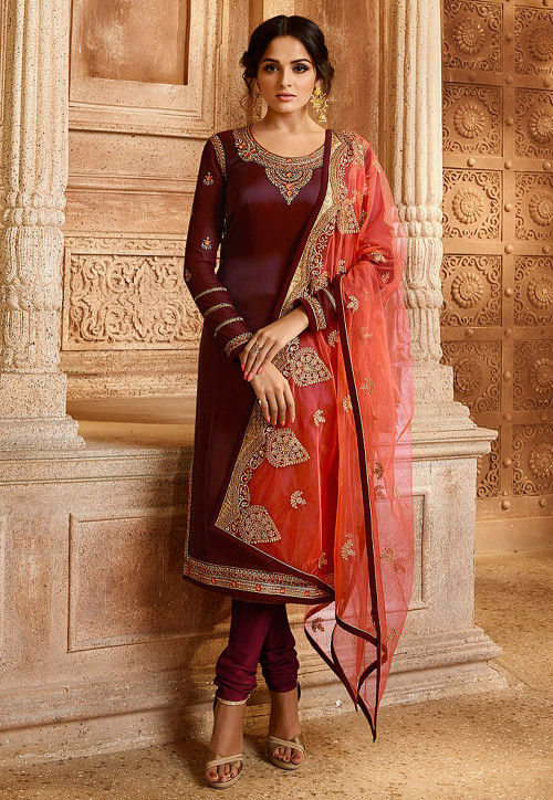 Embroidered Art Silk Straight Suit in Wine
