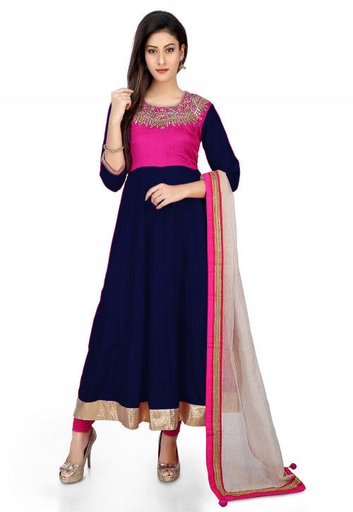 Embroidered Banarasi Silk Anarkali Suit in Navy Blue and Fuchsia