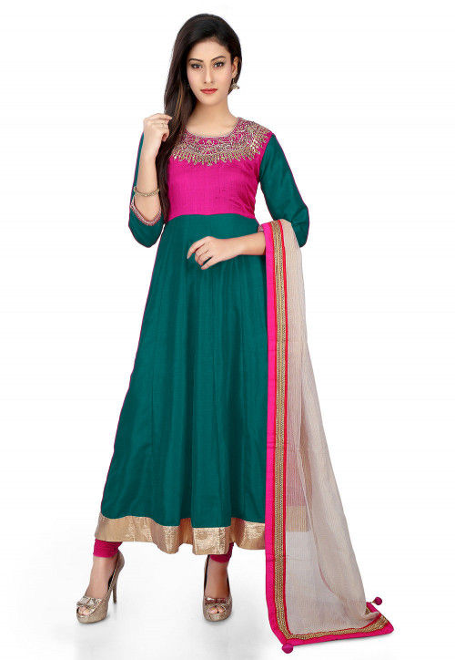Embroidered Banarasi Silk Anarkali Suit in Teal Green and Fuchsia