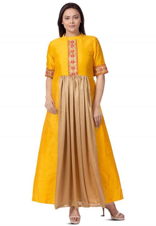 Embroidered Bhagalpuri Silk A Line Kurta in Mustard and Beige