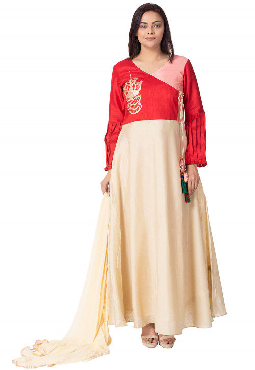 Embroidered Bhagalpuri Silk Abaya Style Suit in Cream and Red