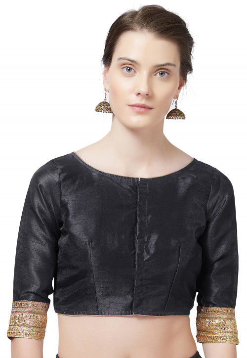 Embroidered Border Art Silk Blouse in Black