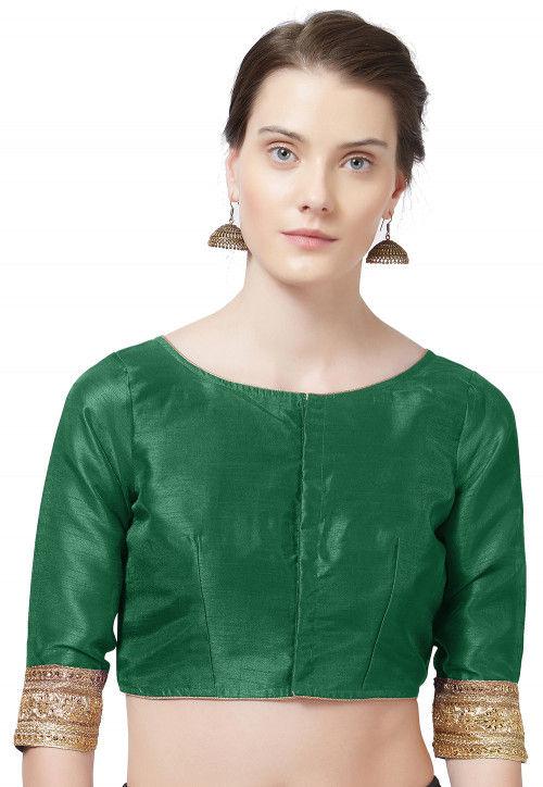 Embroidered Border Art Silk Blouse in Dark Green