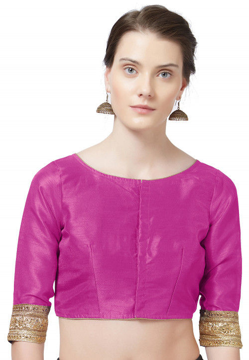 Embroidered Border Art Silk Blouse in Fuchsia