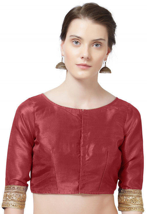 Embroidered Border Art Silk Blouse in Maroon