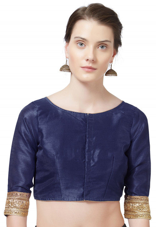 Embroidered Border Art Silk Blouse in Navy Blue